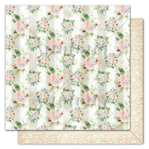 "Лист двусторонней бумаги ""Winter wallpaper"" 30,5*30,5см, Summer Studio Winter traditions"