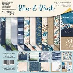 Набор двусторонней бумаги 20х20см, 11 двусторонних листов Scrapmir Blue & Blush