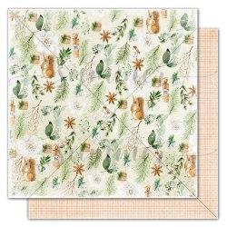 """Лист двусторонней бумаги """"Forest celebration"""" 30,5*30,5см, Summer Studio Winter traditions"""
