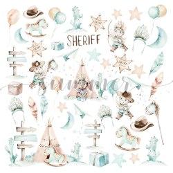 "Набор двусторонней бумаги 11шт, 30,5*30,5см, 190гр. Summer Studio ""Little sheriff"""