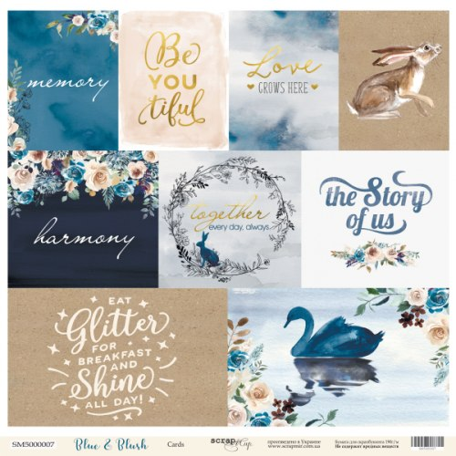 Карточки, лист односторонней бумаги 30x30 Scrapmir Blue & Blush