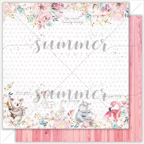 "Лист двусторонней бумаги ""Family ties"" 30,5*30,5см, 190гр. Summer Studio Mother's tenderness"
