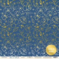 """Лист односторонней бумаги """"Цветики"""", с золотым тиснением 30x30 Scrapmir Blue & Blush"""