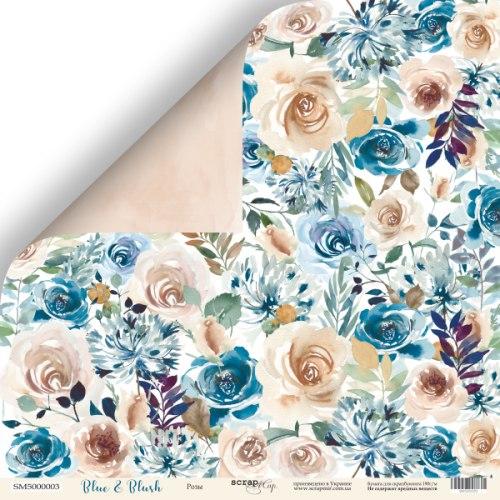"Лист двусторонней бумаги ""Розы"" 30x30 Scrapmir Blue & Blush"
