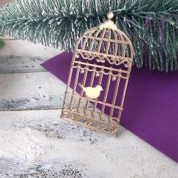 """Декор из зеркального пластика """"Клетка с птицей"""", Лавандовый комод"""