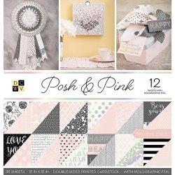 Набор бумаги Posh & Pink 30 х 30, 18 двухсторонних листов, 6 из которых с голографическим фольгированием! DCWV