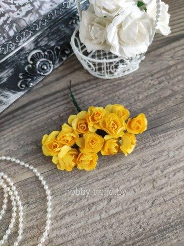 Розы 2 см, цвет жёлтый, 12 шт.