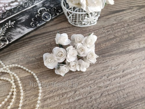 Розы 2 см, цвет белый, 12 шт.