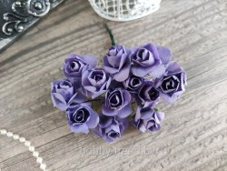 Розы 2 см, цвет фиолетовый, 12 шт.