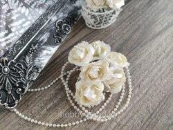 Розы 3,5 см, цвет айвори, 6 шт.