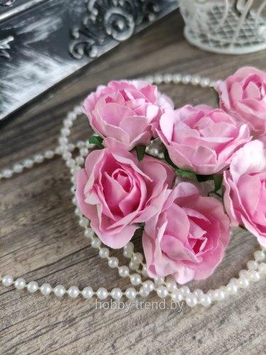 Розы 3,5 см, цвет розовый, 6 шт.