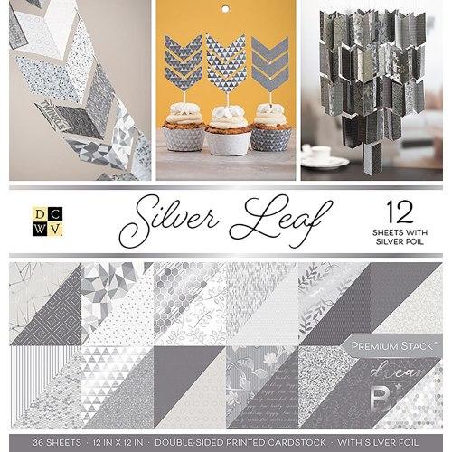 Набор бумаги Silver Leaf 30 х 30, 18 двухсторонних листов, 6 из которых с фольгированием - серебро! DCWV