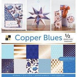Набор бумаги Copper Blues 30 х 30, 24 односторонних листа, 12 из которых с фольгированием - бронза! DCWV