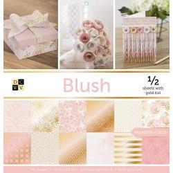 Набор бумаги Blush 30 х 30, 24 односторонних листа, 12 из которых с фольгированием - золото! DCWV
