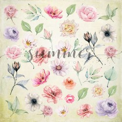 """Лист для вырезания """"Flowers morning"""" 20*20см, Summer Studio"""