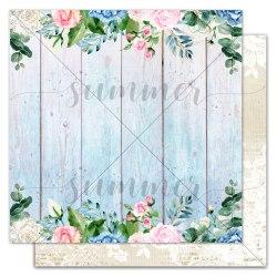 """Лист двусторонней бумаги """"Wood and flowers"""" 30,5*30,5см, Summer Studio Royal garden"""