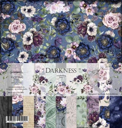 Набор двусторонней бумаги 16шт, 20х20 см, Summer Studio Darkness
