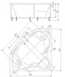 Ванна акриловая Aquatek Сириус 165x164