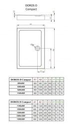 Поддон акриловый Radaway Doros D Compact 90x80, 100x80, 110x80, 120x80
