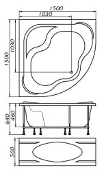 Ванна акриловая 1 Marka Afrodita 150х150