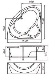 Ванна акриловая 1 Marka Luxe 155х155