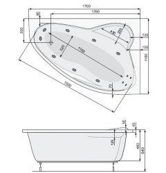 Ванна акриловая с ножками Poolspa Europa 165x105, 170x115