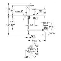 Смеситель для раковины Grohe BauLoop 23335000 со сливным гарнитуром