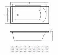 Ванна акриловая Vayer Savero 150х70, 160х70, 170х75, 180х80
