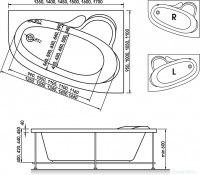 Ванна акриловая Relisan Ariadna 135x95, 145x95, 140x100, 150x100, 150x110, 160x105, 170x110 (левая, правая)