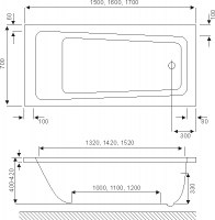Ванна акриловая Excellent Ava 150x70, 160х70, 170х70