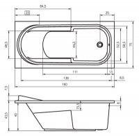 Ванна акриловая Riho COLUMBIA 140X70, 150X75, 160X75, 175X80