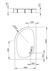 Поддон акриловый Radaway Patmos E 100x80, 120x90