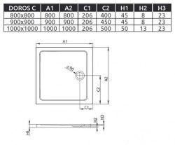 Поддон акриловый Radaway Doros C 80x80, 90x90, 100x100
