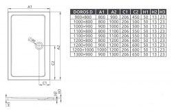 Поддон акриловый Radaway Doros D 100x90, 110x90, 120x90, 120x100, 130x90