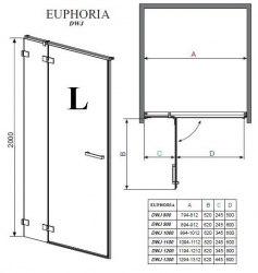 Душевая дверь Radaway Euphoria DWJ 80, 90, 100, 110, 120, 130