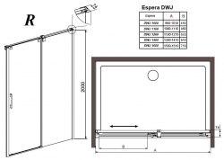 Душевая дверь Radaway Espera DWJ 100, 110, 120, 140, 160