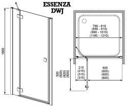 Душевая дверь Radaway Essenza DWJ 80, 90, 100, 110, 120, 130