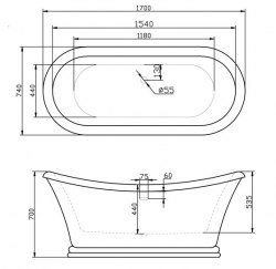 Ванна акриловая BelBagno BB09 170x74