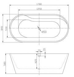 Ванна акриловая BelBagno BB14 178x84