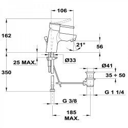 Смеситель для раковины Teka Ares 23.342.02.10 со сливным гарнитуром