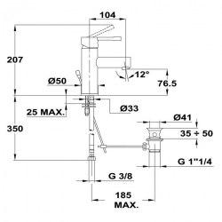 Смеситель для раковины Teka ALAIOR 22.342.02.10 со сливным гарнитуром