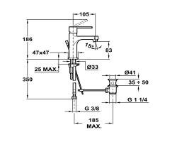 Смеситель для раковины Teka Aura 50.342.02.10 со сливным гарнитуром