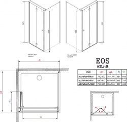Кабина Radaway EOS KDJ-B 80х80, 90х90, 100х80