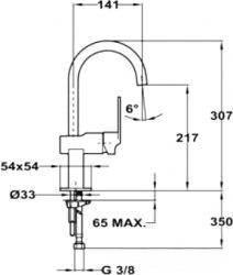 Смеситель для раковины высокий Teka CUADRO 38.3511.02