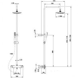 Душевая система с термостатом Teka MT PLUS 46.238.02.00
