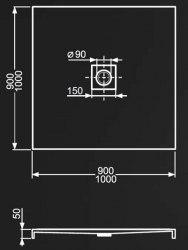 Поддон акриловый Roltechnik Integro 90х90
