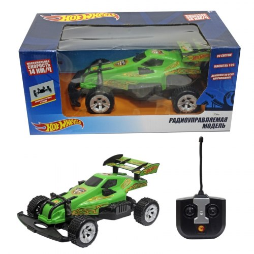 Hot Wheels машинка багги на р/у, 1:20,скорость - 14км/ч, со светом, на батарейках, зелёная 1Toy 10975