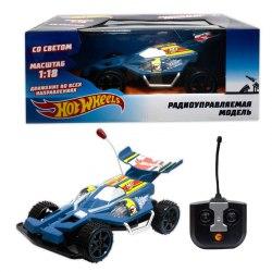 Hot Wheels багги на р/у, 1:18, со светом, синий, на батарейках 1Toy Т10977