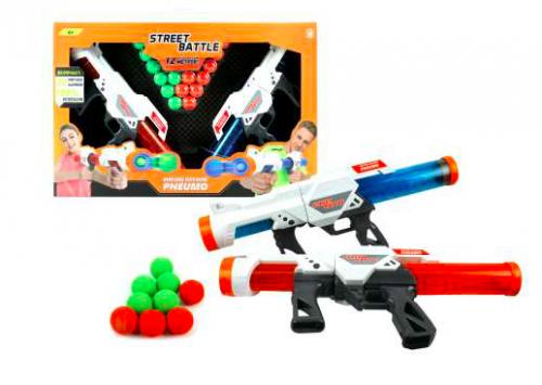 Игрушечное оружие Street Battle - 2 пистолета с 20 мягкими шариками по 3,4 см 1Toy Т13652