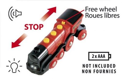 Большой локомотив на батарейках красный BRIO 33592